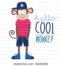 cool monkey animal vector illustration