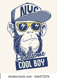 Cool Monkey illustration with cool slogan for t-shirt and other uses.