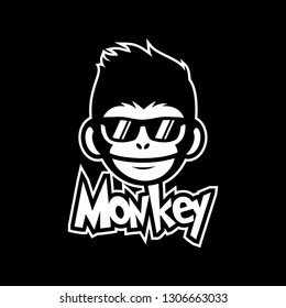 cool monkey wearing glasses logo vector design illustration. monkey head/face icon. ape face icon.