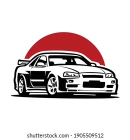 Cool monochrone japanese sport car vector isolated in red background, best use for tshirt design and car club illustration
