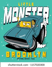 Cool monster riding a car vector design for t shirt printing