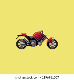 Cool motobike. Pixel art style