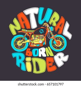 Cool motorcycle print design, vector illustration