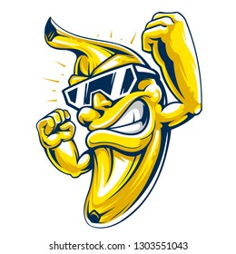 Cool muscular banana character in sunglasses. Powerful and happy banana fruit on white background. Cartoon style vector mascot.