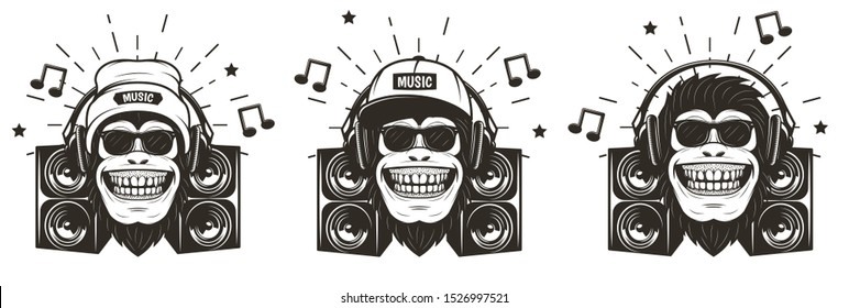 Cool music monkey with headphones set, vector sketch illustration isolated on white background. Funny monkey in sunglasses listening to music. T-shirt graphics.