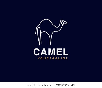 Cool one line Camel logo design and unique animal concept, can be used as a sign, app Icon or symbol, multi-layer vector and easy to modify, size and color,  compatible with all illustrator versions