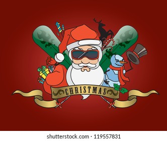 Cool party Santa Claus with Christmas elements