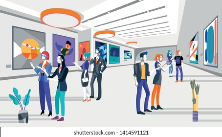 Cool people looking modern abstract paintings in art exhibition. vector flat illustration. Men and women at the museum of arts.