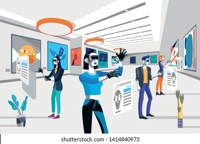 Cool people looking modern abstract paintings in art exhibition wearing augmented reality technology devices. Vector flat illustration. Men and women at the museum of arts.