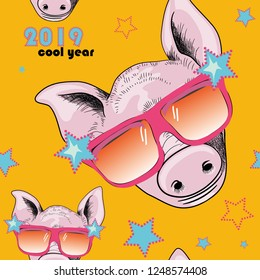 Cool pink pig with sunglasses. Seamless pattern.  Cool year 2019. Vector illustration of cool pig with sunglasses on yellow background