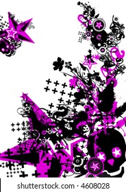 Cool pink skull and Stars Illstration
