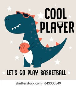 cool player dino  illustration vector for print design or other uses.