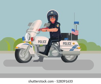 Cool police officer character sitting on motorcycle. Vector flat cartoon illustration