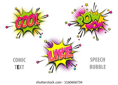cool, pow, wow, like pop art style set hand drawn sound effects template comics book text speech bubble. Halftone dot background.