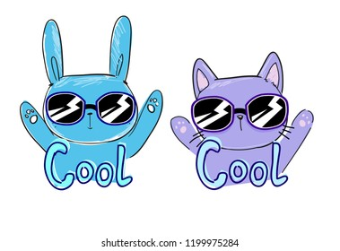 cool print children's T-shirt with cat and rabbit, vector illustration, hand drawn cat and rabbit with sunglasses
