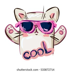 cool print children's T-shirt with cat, vector illustration, hand drawn cat with sunglasses