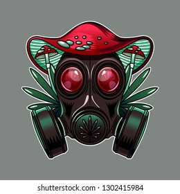 Cool print for junkie T-shirt with a hat in the form of red fly agaric, cannabis leaves and gas mask with big eyes
