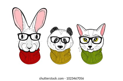 Cool print of tree white animals. Vector illustration with panda, cat and rabbit. Young winter animals in scarfs.