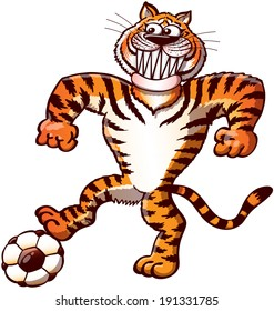 Cool and proud orange tiger stepping on a soccer ball while pushing it, staring at the target, clenching its fists, grinning and preparing a free kick