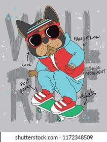 Cool pug skateboarding vector design for t shirt printing