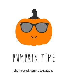 Cool pumpkin character with sunglasses and pumpkin time text. Halloween emoticon.