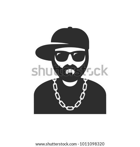 06b74e001db Royalty-free stock vector images ID  1011098320. Cool rapper man in a baseball  cap and sunglasses. Hip Hop icon - Vector