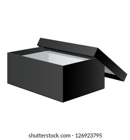 Cool Realistic Black blank Package Box Opened with the cover removed. For shoes, electronic device and other products. Vector illustration