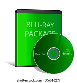 Cool Realistic Case for BLU-RAY Or DVD Disk with Disk.Vector Illustration