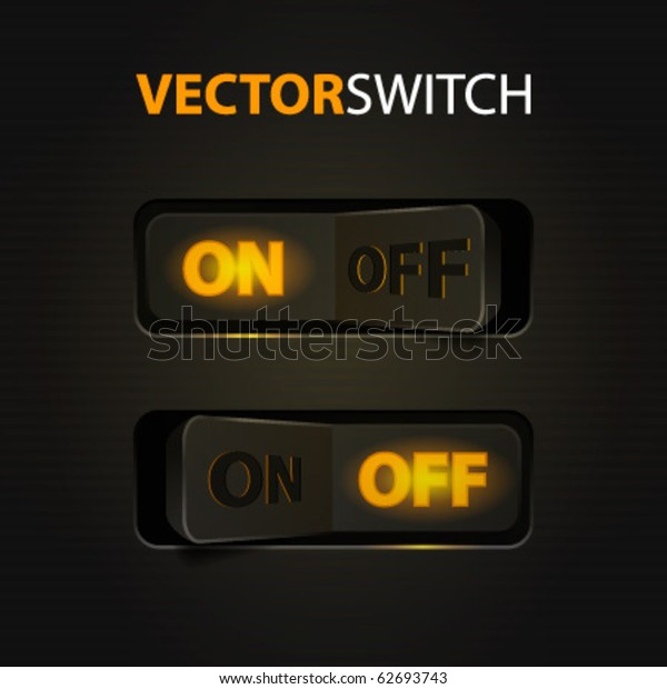 Cool Realistic Toggle Switch Onoff Vector Stock Vector