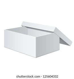 Cool Realistic White blank Package Box Opened with the cover removed. For shoes, electronic device and other products. Vector illustration