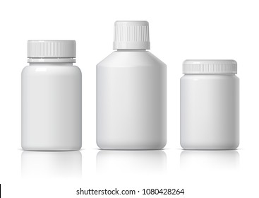 Cool Realistic White plastic bottle. Product Packing Cosmetic, medicine. Various fluids Vector Illustration