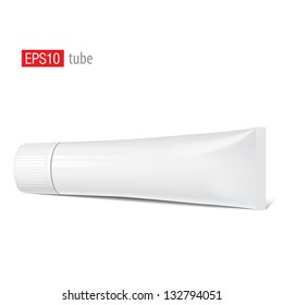 Cool Realistic white tube with a wide cap. For cosmetics, ointments, cream, tooth paste, glue Vector.elements