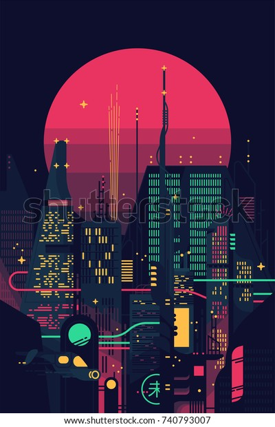 Cool Retro Futuristic Synthwave Background Night Stock Vector