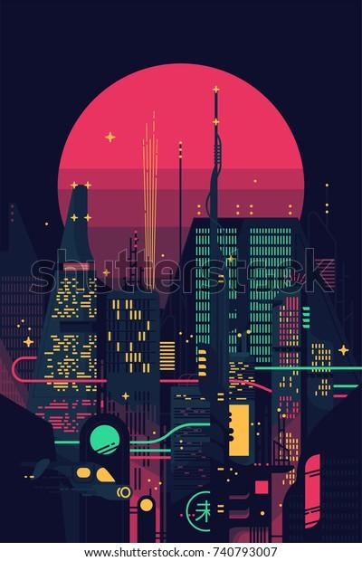 Cool Retro Futuristic Synthwave Background Night Stock