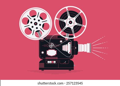 Cool retro movie projector with abstract light rays vector detailed illustration | Analog device: cinema motion picture film projector with different film reels