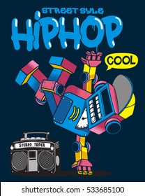 cool retro robot doing hip hop dance