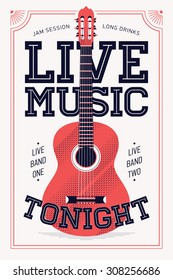 Cool retro styled 'Live Music Tonight' vector poster template | Vertical event announcement with heavy old fashioned lettering and acoustic guitar illustration | Retro concert poster