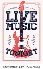 Cool retro styled 'Live Music Tonight' vector poster or banner template. Vertical event announcement with chunky lettering and electric guitar illustration. Concert poster
