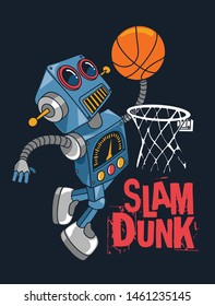 cool robot basketball player vector design