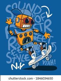 cool robot vector on skateboard
