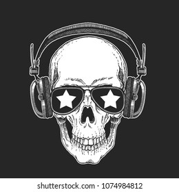 Cool rock star skull wearing disco glasses. Retro music festival. Heavy metall emblem for concert, party, banner, t-shirt