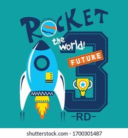 cool rocket typography design for children,funny cartoon,vector illustration