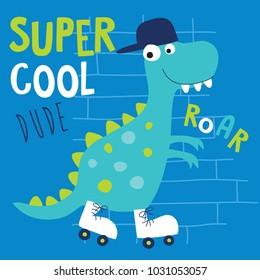 cool roller skater dinosaur dino animal character vector illustration