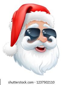 Cool Santa Claus Christmas cartoon character in shades or sunglasses