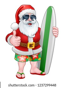 Cool Santa Claus in shorts and flip flops wearing shades or sunglasses and holding his surfboard, Christmas cartoon.