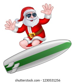 Cool Santa Claus surfing on his board in shades or sunglasses Christmas cartoon illustration