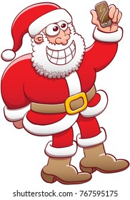 Cool Santa Claus wearing his Christmas suit, posing and grinning while taking a selfie with his smartphone