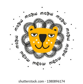 Cool scandinavian print with lion face. Creative decor for baby room and clothes illustration.
