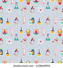 Cool Seamless Pattern Education School Children Science Theme on Light Background. Pattern suitable for posters, postcards, fabric or wrapping paper.
