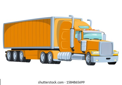 Cool semi-trailer truck with sleeper towing engine transport. Design element with american tractor unit pulling semi-trailer, side view. Freight transportation illustration